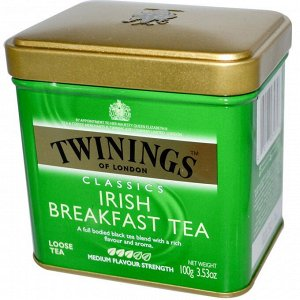 Twinings, Classics, листовой чай Irish Breakfast, 100 г (3,53 унции)