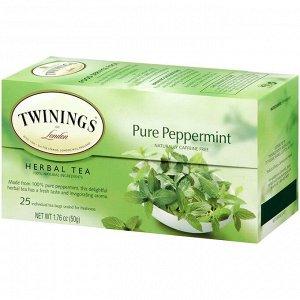 Twinings, Травяной чай из перечной мяты, Без кофеина, 25 чайных пакетиков, 1,76 унции (50 г)
