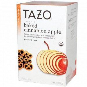 Tazo Teas, Органическое яблоко, запеченное с корицей, Растительный чай без кофеина, 20 фильтр-пакетов, 1,76 унции (50 г)