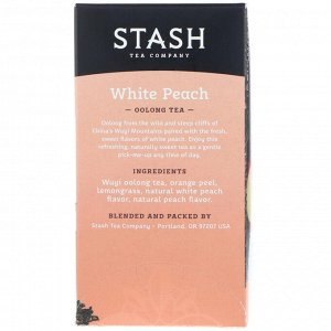 Stash Tea, Oolong Tea, Белый персик, 18 чайных пакетиков, 1,2 унции (35 г)
