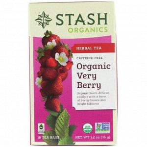 Stash Tea, Органический травяной чай, ягодный, без кофеина, 18 чайных пакетиков, 1,2 унции (36 г)