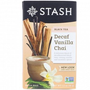 Stash Tea, Black Tea, Decaf Vanilla Chai, 18 Tea Bags, 1.2 oz (36 g)