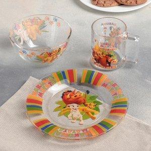 Набор посуды детский ОСЗ «Король Лев», 3 предмета: кружка 250 мл, салатник d=12,7 см, микс d=19,6 см
