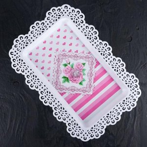"""Блюдо для торта и пирожных прямоугольное с крышкой на ножке 35,5х24х33 см """"Бант"""", цвет МИКС"""