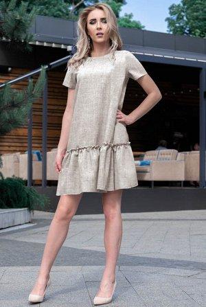 Платье мини Розетта, лен, бежевое, размер 50