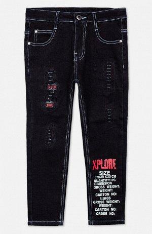 Брюки текстильные джинсовые утепленные для мальчиков