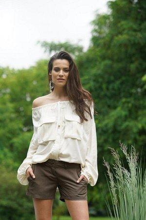 Блуза женская  как на фото. Цвет молочный. Состав натуральный