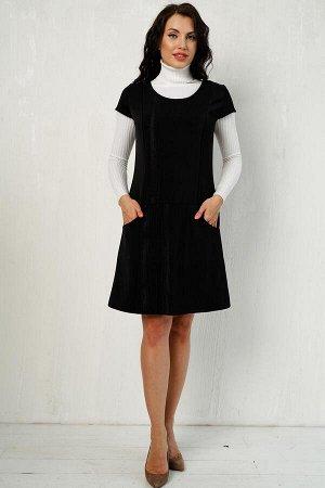 """Сарафан из костюмной ткани """"Монтана"""" (черное сияние) П919-8"""