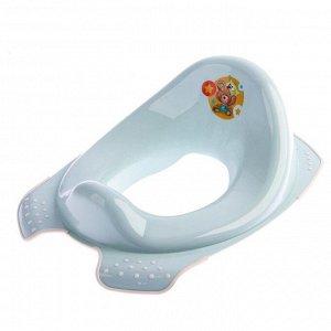 Детская накладка на унитаз «Мишка» антискользящая, цвет голубой