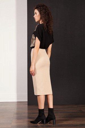 Юбка миди Полиэстер 74%, вискоза 17%, эластан 9% Рост: 170 см. Женская юбка-карандаш из стрейчевой костюмной ткани длиной ниже колена с высокой посадкой на талии. Застёжкой служит металлическая молния