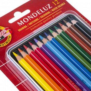 Карандаши акварельные набор 12 цветов, Koh-I-Noor Mondeluz 3722, в металлическом пенале, блистер