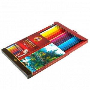 Карандаши акварельные набор 48 цветов Koh-i-Noor Mondeluz 3713 + точилка + кисть 2 штуки