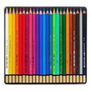 Карандаши акварельные набор 24 цвета, Koh-I-Noor Mondeluz 3724, в металлическом пенале