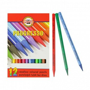 Карандаши художественные 12 цветов, Koh-I-Noor PROGRESSO 8756, цветные, цельнографитные, в картонной коробке