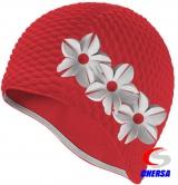 шапочка для плавания желтая с белым цветком резиновая