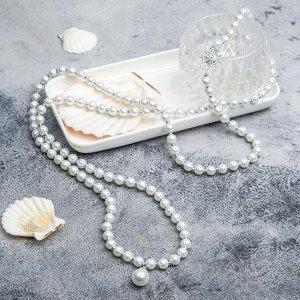"""Бусы """"Жемчужные"""" два элемента, цвет белый в серебре, 120 см"""