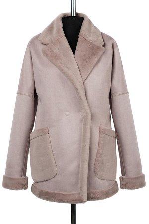 02-2421 Пальто женское утепленное Эко-дубленка светло-розовый