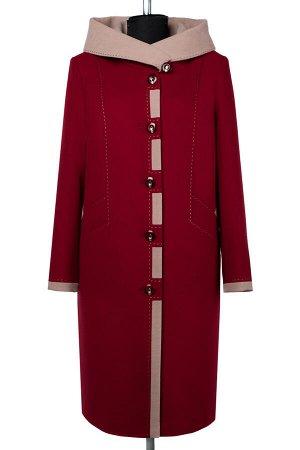 02-2420 Пальто женское утепленное Кашемир темно-красный