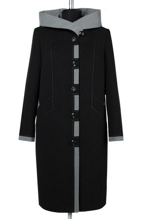 02-2417 Пальто женское утепленное Пальтовая ткань черный
