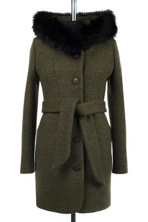 02-2034 Пальто женское утепленное(пояс) Букле хаки