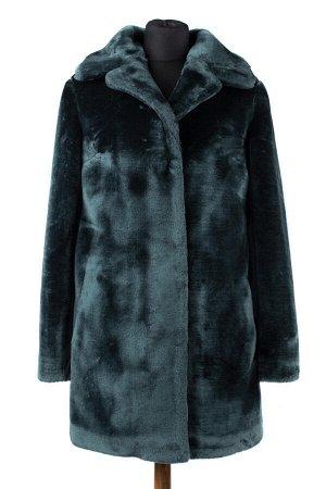 01-08735 Пальто женское демисезонное Искусственный мех Изумруд