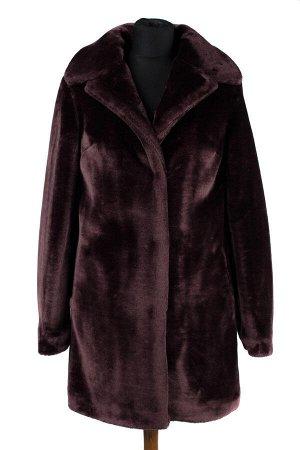 01-08726 Пальто женское демисезонное Искусственный мех шоколад