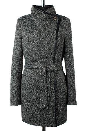 01-08579 Пальто женское демисезонное (пояс) трикотаж темно-серый