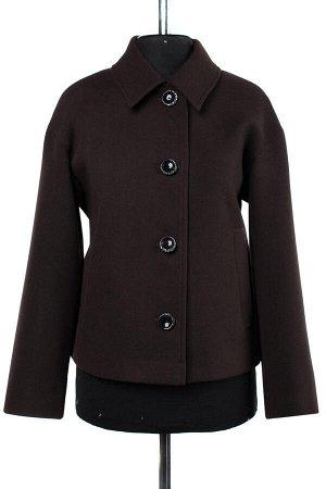 01-08543 Пальто женское демисезонное Пальтовая ткань шоколад
