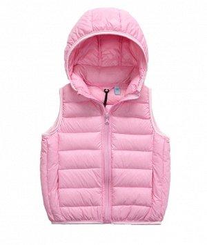 Ультралегкий детский жилет НА УТИНОМ ПУХУ, с капюшоном, цвет розовый