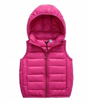 Ультралегкий детский жилет НА УТИНОМ ПУХУ, с капюшоном, цвет ярко-розовый