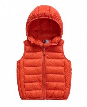 Ультралегкий детский жилет НА УТИНОМ ПУХУ, с капюшоном, цвет оранжевый