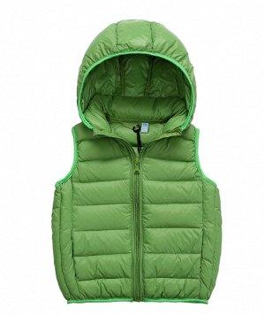 Ультралегкий детский жилет НА УТИНОМ ПУХУ, с капюшоном, цвет зеленый