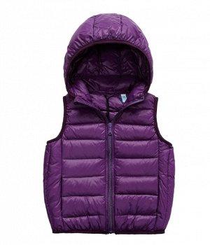 Ультралегкий детский жилет НА УТИНОМ ПУХУ, с капюшоном, цвет фиолетовый