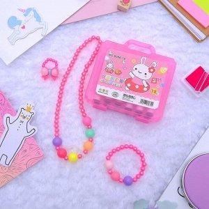 """Комплект детский """"Выбражулька"""" 4 предмета: фломастеры, бусы, браслет, кольцо, бантик, цвет МИКС"""
