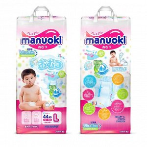 Подгузники Manuoki Ultrathin L (12+ кг), 44 шт