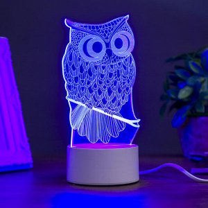 "Светильник ""Филин"" LED RGB от сети 9,5x10x19 см"