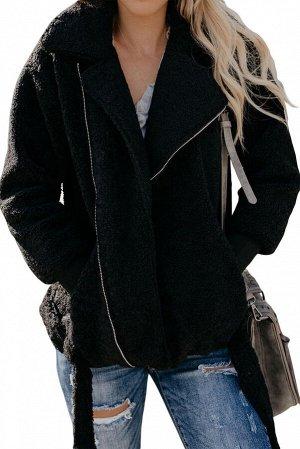 Черная меховая куртка-жакет с застежкой на молнию и поясом