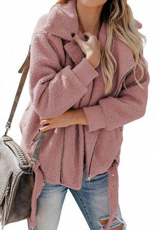 Розовая меховая куртка-жакет с застежкой на молнию и поясом