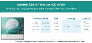 """Очковые линзы """"NOVIS"""" 1.56 ASP Blue Cut [UV420]"""