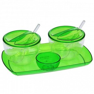 Набор для кухни Fresh, контейнеры 300 мл, цвет зелёный