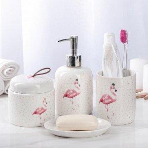 Набор аксессуаров для ванной комнаты «Фламинго», 4 предмета (дозатор 350 мл, мыльница, 2 стакана)
