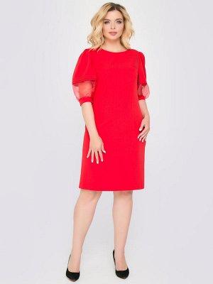 Платье Платье прилегающего силуэта из костюмной ткани однотонной расцветки. - горловина круглая на внутренней обтачке - рукава втачный до локтя, из двух видов ткани - основной и органзы, заканчиваются