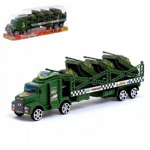 Грузовик инерционный «Военный автовоз» с 4 танками