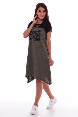Платье женское 4-63а (хаки-меланж)