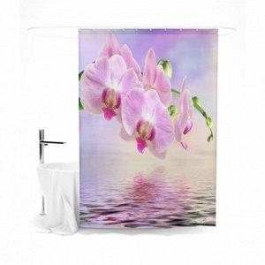 """Шторка для ванной """"Орхидея и отражение"""""""