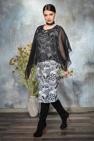 Платье Платье Anna Majewska A275  Состав ткани: Вискоза-15%; ПЭ-85%;  Рост: 170 см.  Платье футляр из эластичной плательной ткани с набивным рисунком. Прозрачная ассиметричная накидка из нежного шифо