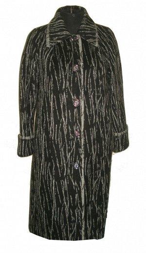 Длинное пальто из ворсовой ткани Код: 3 берёза чёрная