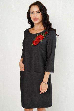 Платье Люси (букет красных роз) П929-13