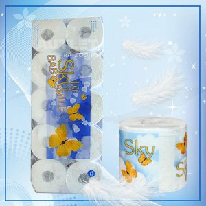 """""""SKY"""" Трехслойная туалетная бумага с ароматом ментола (в индивидуальной упаковке), 10 рулонов"""