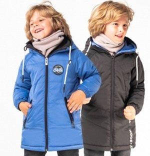 Пальто двухсторонее для мальчика (бутылочный/серый)